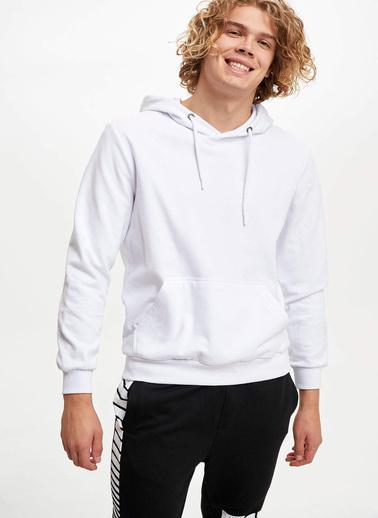 DeFacto Kapüşonlu Slim Fit Sweatshirt Beyaz